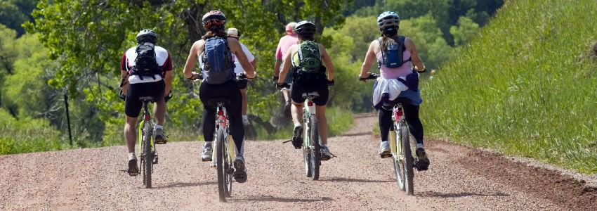 Mountain bike riders in Castlewood Canyon Colorado.