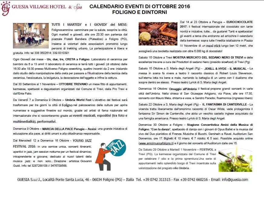 events calendar in Foligno