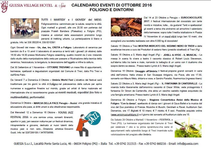 events calendar in Foligno