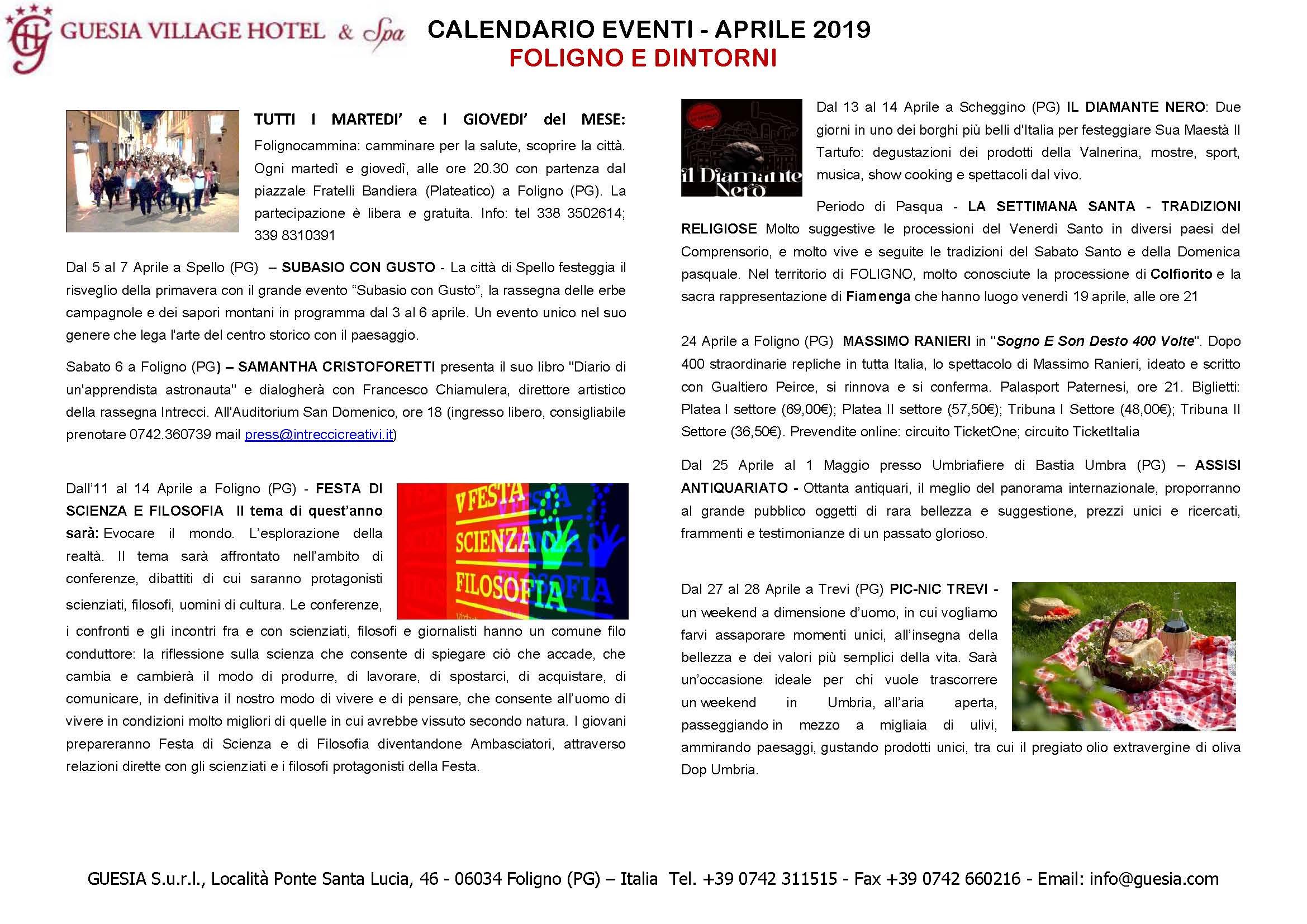 Grande Evento Calendario.Calendario Eventi Foligno Guesia Village Hotel Spa