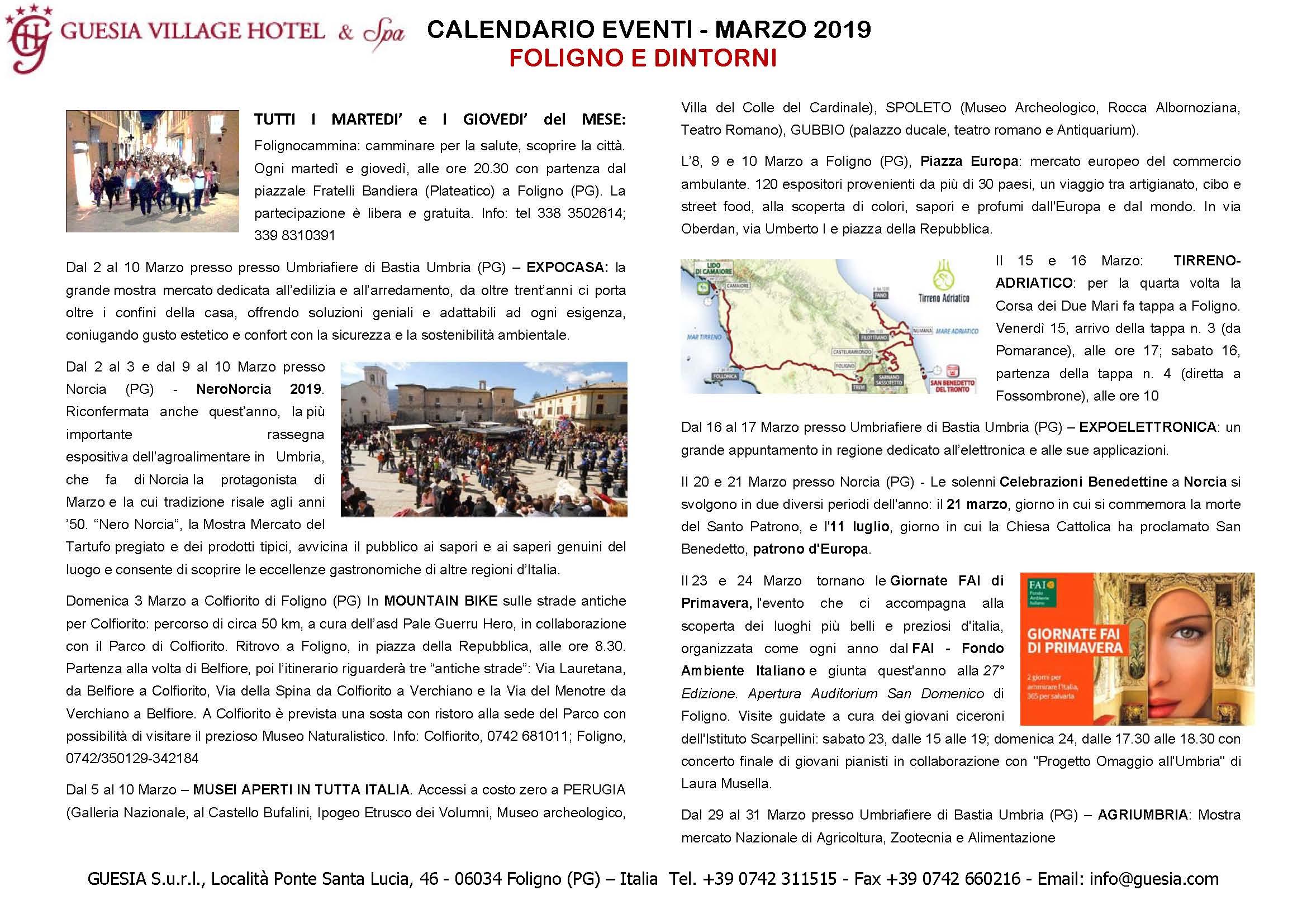 Grande Evento Calendario.Calendario Eventi In Umbria Marzo 2019 Guesia Village